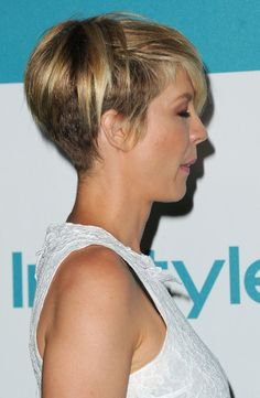 Jenna Elfman's has an undercut technique used on it. When she wears it on her regular part, you can't tell it's short underneath. It's a good technique for those who have really thick hair but want a pixi cut