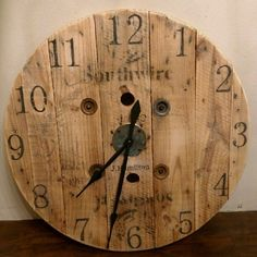 wooden spool wall clock....I may have to make this!