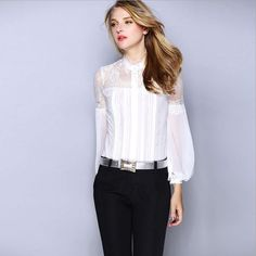 2017 Autumn new brand silk shirt European and American style Lace Slim hollow cut long-sleeved women's blouse shirt w1908
