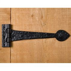 Gothic Style Hand-Forged Iron Strap Hinge - Black Powder Coat