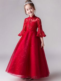 Fliwer girl: Lace Sequined Mesh Applique Stand Collar Seven-Tenths Sleeves Long Full Dress Kids Frocks, Frocks For Girls, Gowns For Girls, Little Girl Dresses, Girls Dresses, Flower Girl Dresses, Baby Dress Design, Frock Design, Party Wear Dresses