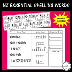 New Zealand Essential Spelling Words – Mystery Codes Spelling Bee, Spelling Words, Sight Words, Activity Sheets, Activity Centers, Literacy Centers, Spelling Word Activities, Secret Code, School Resources