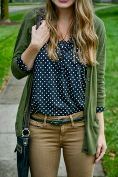 Navy and white spots and green. Why haven't I thought of this before?
