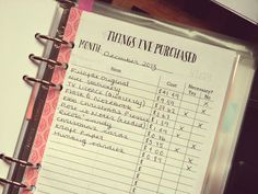 free 'things i've purchased' printable (A5)