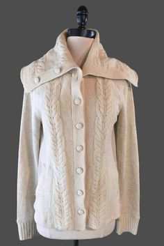 Anthropologie Saturday Sunday Sweater Jacket Sz L Cotton Wool Blend Cable Knit #SaturdaySunday #Cardigan