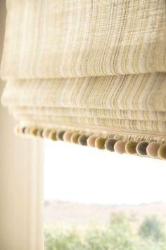 Pom Pom Trim for Roman Shades Linen blinds with Pom Pom trim How To Make Blinds, How To Make A Roman Blind, Grey Roman Blinds, Roman Curtains, Drapery, Gypsy Curtains, Cheap Roman Shades, Diy Roman Shades, Window Coverings
