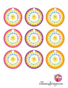 Free round Easter party printables favor tags on @Catch My Party