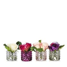 706503 - Peony Set of 4 Roses in Textured Vases QVC Price: £24.50 + P&P: £3.95 A set of four textured vases with two faux roses and foliage in each, set with Still Water resin. Keep a few of these gorgeous Peony pieces to yourself and give the others to friends as a thoughtful gift.