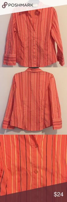 New York & Company Button Down Top New York & Company stretch button down top, size XLarge. Really pretty coral color! New York & Company Tops Button Down Shirts