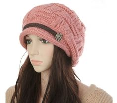 (6.07$)  Know more - http://aiv98.worlditems.win/all/product.php?id=H3132P - New Winter Women Beanie Chunky Knit Baggy Hat Warm Ski Hat Cap Headwear Pink