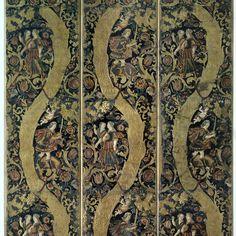 Vijfbladig kamerscherm van gepolychromeerd goudleer met bloem-, vrucht- en bladranken en mythologische jachtvoorstelling, Jacob en Abraham De Gecroonde Son Hamer, De Vergulde Roemer, 1630 - 1650 - Rijksmuseum
