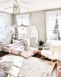 Toddler Room, big kid room inspiration, toddler house bed, little girl bedroom style, canopy bed, pink and gray nursery, house bed, vintage girls bedroom, #achildsnook #charlotteswebtique