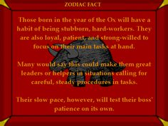 Ox Fact #1- Chinese Astrology
