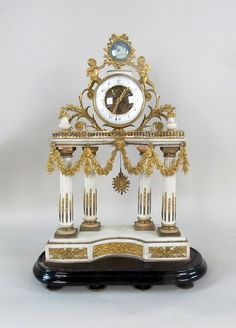 19TH C FRENCH GILT BRONZE MARBLE CLOCK - by Eden Fine Antiques Galleries LLC