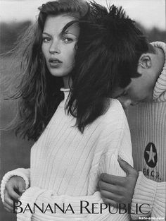 Banana Republic ad. Kate Moss. Exquisite sweater.