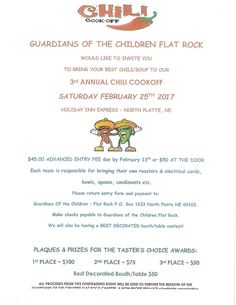 Guardians of the Children Chili Cookoff at North Platte's Holiday Inn on February 25th.