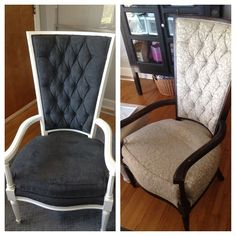 Painted fabric (and wood) chairs! Good give this a try before re-apolstering.  Paint, water and medium mix, then paint. Spray down with water first-to avoid too much absorption..