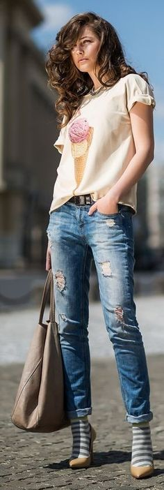 #street #style #spring #2016 #inspiration | Printed Silk Blouse