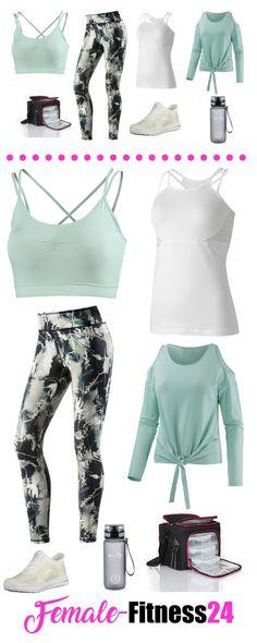 Fitness-Outfit für Frauen - funktionelles Outfit für Fitness, Fitness-Kurse, Yoga, Workout. Mit Offshoulder-Langarm-Shirt, Fitness-Top, Bra, bunter Fitness-Leggings, Sportflasche, Mahlzeiten Tasche bzw. Meal Management Bag, Fitness-Sneaker. Für weitere Details und zum Shop - meine Seite besuchen