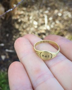Valentines Sale Stamped signet ring with hidden personalized message inside band - custom hand stamped - bronze or sterling silver