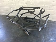 """steel fruit bowl #3  made with welded pliers    13"""" diameter, 5 1/2"""" tall"""