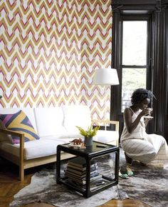 The Vibe: Saffron & Pink wallpaper - Graham & Brown