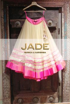 Embark upon your Fairy-Tale adventure in this Gorgeous Ivory and Pink Lace Lehenga! #JADEbyMK #Wedding #India