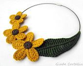 Necklace, flowers, leaves, crochet, garland, flowers, fall, autumn, end of summer, yellow, green, small world, fairy, elf, cotton, Vegan