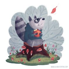 Autumns here - Illustrations Illustrations for Kids Portfolio animals autumn forest nature Racoon - by Simone Krüger