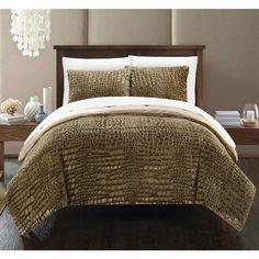 Chic Home Caimani Gold Faux Fur Queen 3-piece Comforter Set