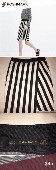 Zara striped asymmetrical  skirt Worn 2 times, in great condition Zara Skirts Midi