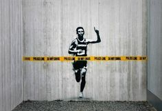 Another great graffiti art print by the outspoken UK street artist, Banksy, this Banksy print says 'Police Line,Do not cross'. Street Art Banksy, 3d Street Art, Street Art Utopia, Best Street Art, Amazing Street Art, Street Artists, Banksy Graffiti, Street Art Quotes, Berlin Graffiti