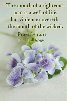 Proverbs 10:11 (ESV)  11 The mouth of the righteous is a fountain of life,     but the mouth of the wicked conceals violence.