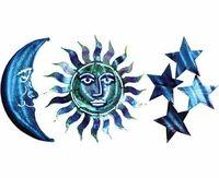 Sun Moon & Stars Metal Wall Art Decor