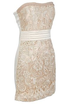 Lucy Tiered Waistband Crochet Lace Dress in Cream $48.00
