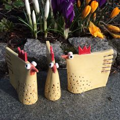 Ceramic hens made by Anna Katarina Haaland