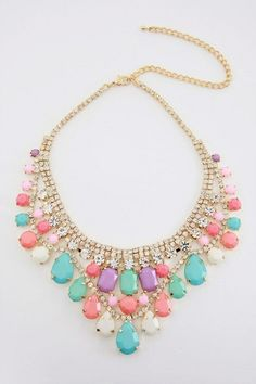 Pastel statement necklace. Would be fun to pick up some vintage rhinestone necklaces and paint away!  So doing! What a fun DIY!