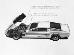 1966 Ford Mustang Mach 1 Concept - Design Sketch