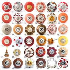 Vintage Ceramic Knobs Ornamental Door Knobs Various Red Brown Designs Kitchen Cabinet Handles Cupboard Or Drawer Pulls