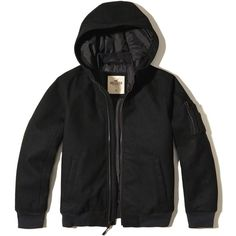 Hollister Hooded Wool-Blend Bomber Jacket (215 ILS) ❤ liked on Polyvore featuring men's fashion, men's clothing, men's outerwear, men's jackets, men, coats, black, mens flight jacket, mens fleece lined jacket and mens bomber jacket
