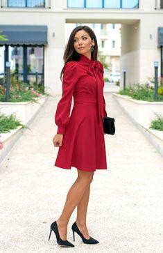 Bow Neckline Knee Length Dress / Long Sleeve Dress / Red Dress / Elegant Dress / Dress To The Knee / Dress for Women / Women's Dresses Fashion Dresses, Women's Dresses, Dresses With Sleeves, Official Dresses, Womens Maxi Skirts, Dress Backs, Elegant Dresses, Dress Red, Dress Long