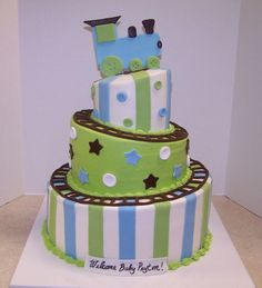 Whimsical Train Baby Shower  on Cake Central