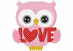 Valentines Day Owl 5 4X4: Breezy Lane Embroidery Machine Embroidery Design