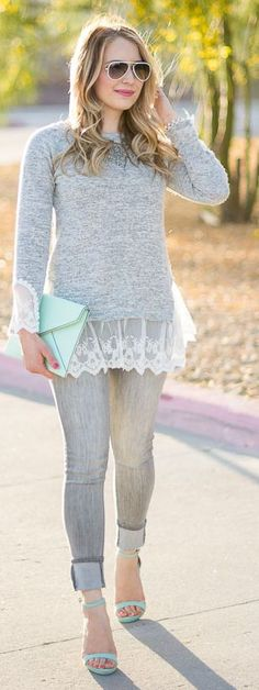 White Lace On Grey Styling #Fashionistas