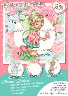 A Fairy's best Friend - Digital Stamp A4 Sheet Size, Digi Stamps, Paper Background, Digital Image, Outline, Card Stock, Best Friends, Fairy, Teddy Bear