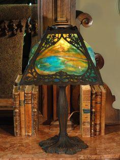 Bump Panel Slag Glass Lamp. Antique LampsVintage ...