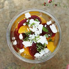 beets and peaches salad with feta cheese and mint