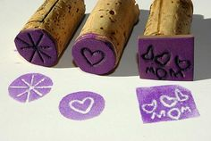homemade stamps- Draw an image onto a foam sheet with a ballpoint pen, pressing hard to make an indentation. Cut around the design and glue to a wine cork.