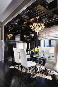 black ceiling - need to decide between ornate or plain depending on decor & walls. Im thinking black on white walls, white crown molding black ceiling tiles for back area (not private room). Just paint private room ceiling.