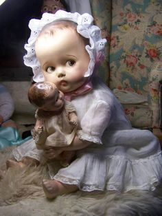 old composition doll and friend